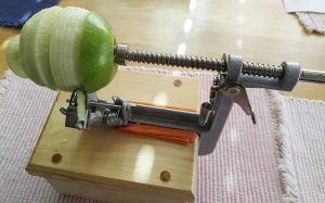 close up of Pampered Chef apple peeler and corer